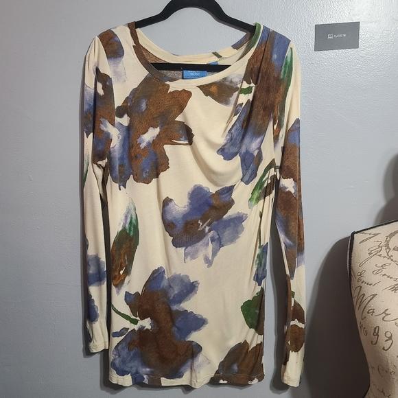 Vera Wang Tan, Brown Multi long Sleeve Size L